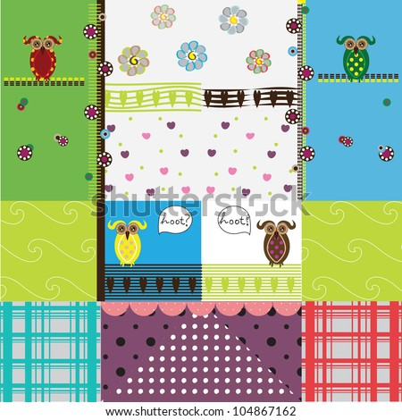 Pretty pattern with owls and retro lines - stock photo