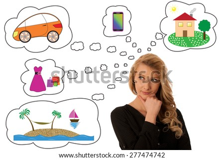 Pretty pensive caucasian blonde business woman looking into copy space - stock photo
