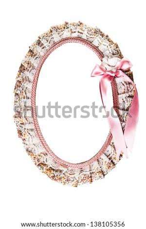 pretty photo frame isolated on white - stock photo