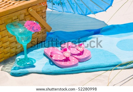 Pretty pink and blue picnic - stock photo