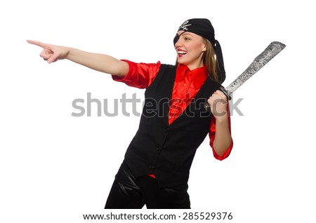 Pretty pirate girl holding sword isolated on white - stock photo