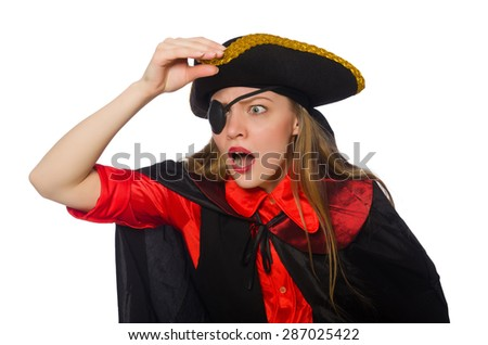 Pretty pirate girl in carnival clothing isolated on white