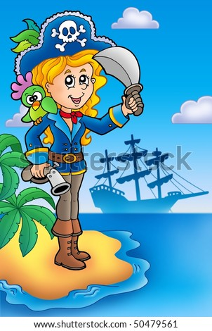 Pretty pirate girl on island - color illustration. - stock photo
