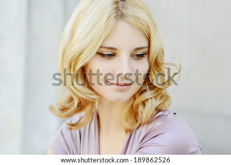 pretty portrait of blonde girl - stock photo