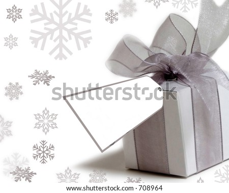 pretty present with tag to write on - stock photo
