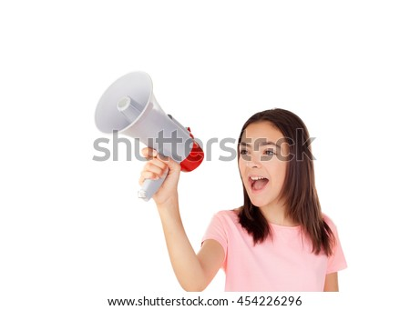 Pretty preteenager girl with a megaphone isolated on a white background - stock photo