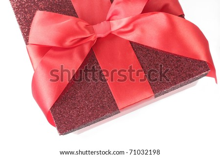 Pretty red gift box, view from the top - stock photo