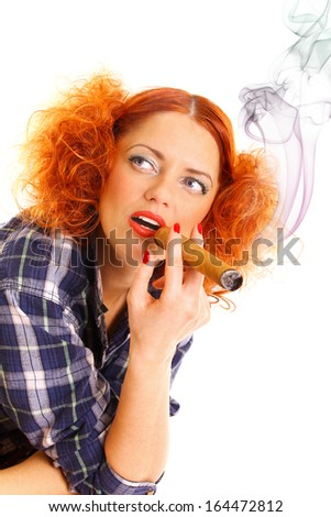 pretty redhead girl smoking a cigar isolated on white