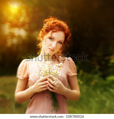 Pretty redhead yang woman - stock photo