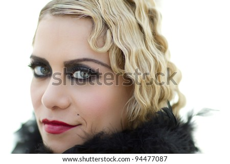 Pretty Retro Blond Woman Vintage Style - stock photo
