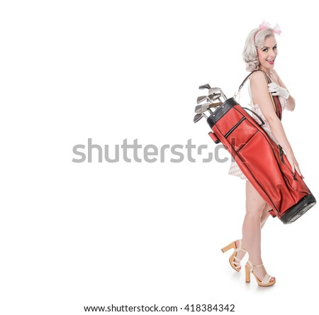 Pretty retro girl carrying red golf bag over her shoulder, isolated on white with space for text - stock photo