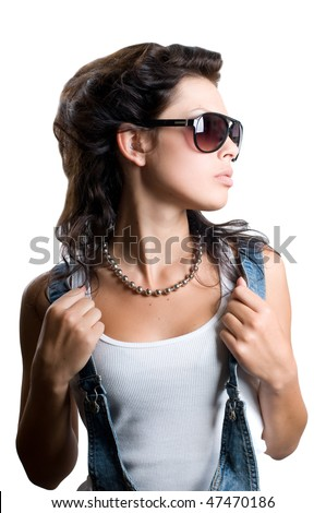 Pretty rock girl with magnificent hair isolated - stock photo