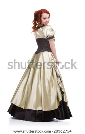 pretty rust-coloured woman in old-fashioned dress - stock photo
