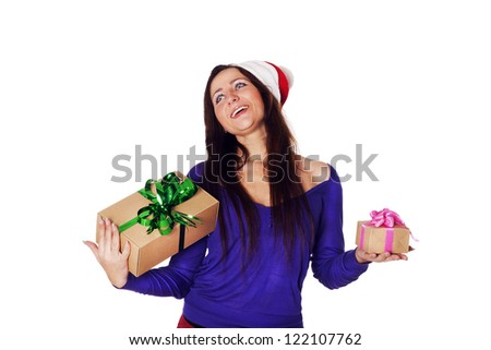 Pretty Santa girl with a present gift for New Year or Christmas - stock photo