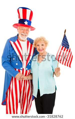 Pretty senior woman meets American icon Uncle Sam.  Isolated.