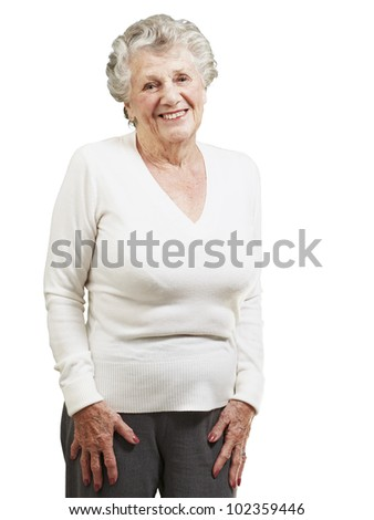 pretty senior woman smiling against a white background - stock photo