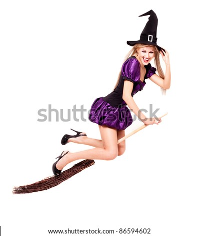 pretty sexy young blond witch flying on the broom, isolated against white background - stock photo