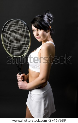 pretty sexy young female woman tennis player tennis clothes and racket