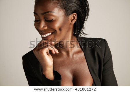 pretty smiling business woman - stock photo