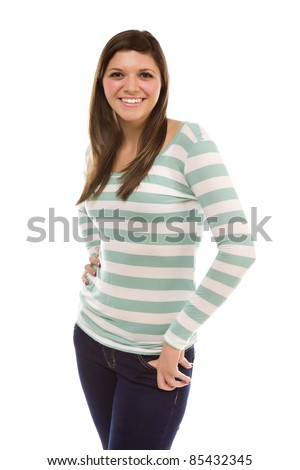 Pretty Smiling Ethnic Female Portrait Isolated on a White Background. - stock photo