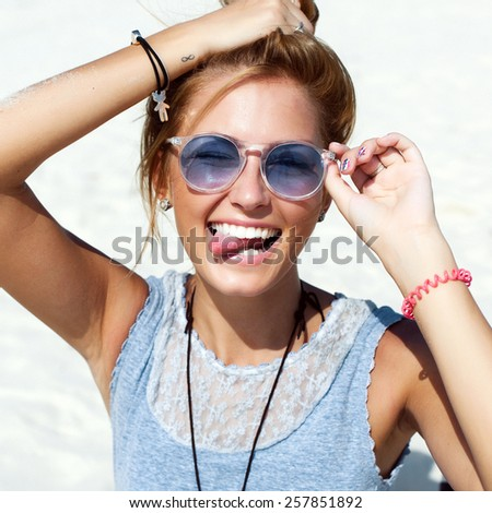 Pretty smiling laughing tanned sexy woman in summer have fun outdoor on the beach  - stock photo