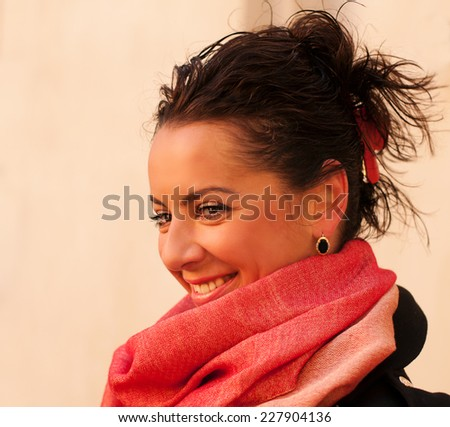 Pretty smiling middle age woman portrait closeup