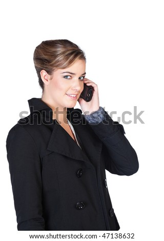 Pretty smiling young woman speaking on cellphone - stock photo
