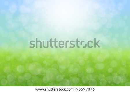 Pretty Spring Meadow Sky Flowers  Background Abstract - stock photo