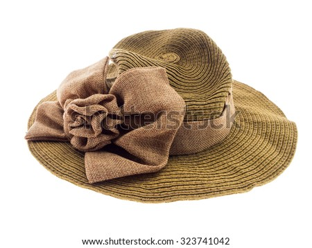 Pretty straw hat isolated on white background, Brown straw hat isolated on white background - stock photo