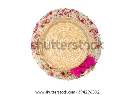 Pretty straw hat with flower isolated on white background. Clipping path - stock photo