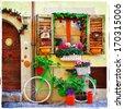 pretty streets of small italian villages - stock