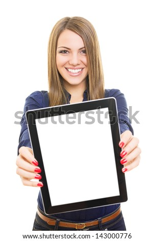 Pretty student girl showing blank tablet computer screen - stock photo