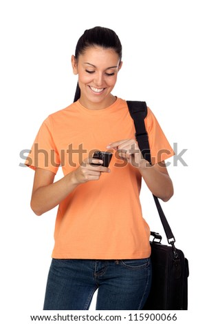 Pretty student girl with a mobile isolated on white background - stock photo