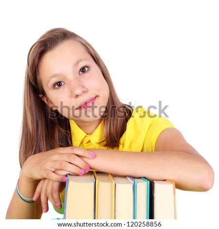 pretty student girl with the books