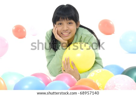 pretty stylish happy girl with balloon