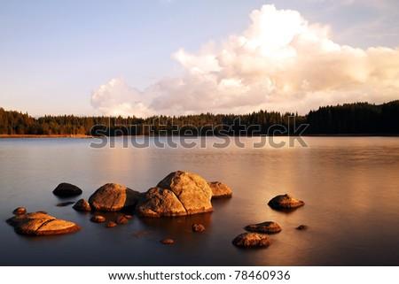 pretty sunrise on the beauty mountain lake - stock photo