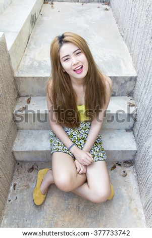 Pretty swimsuit fashion young sexy asian woman posing. - stock photo