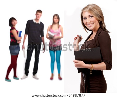Pretty teacher in front. behind a lot of students - isolated on white background - stock photo