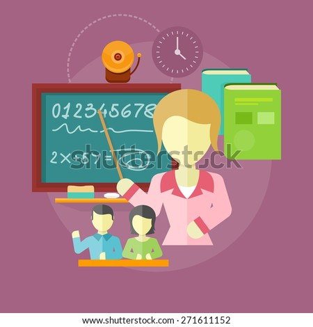 Pretty teacher with a pointer. Pedagogue concept in flat design. Raster version - stock photo