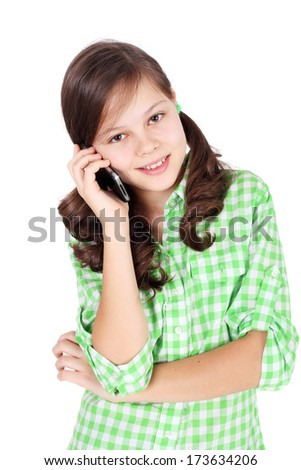 pretty teen girl speaking by mobile phone  - stock photo