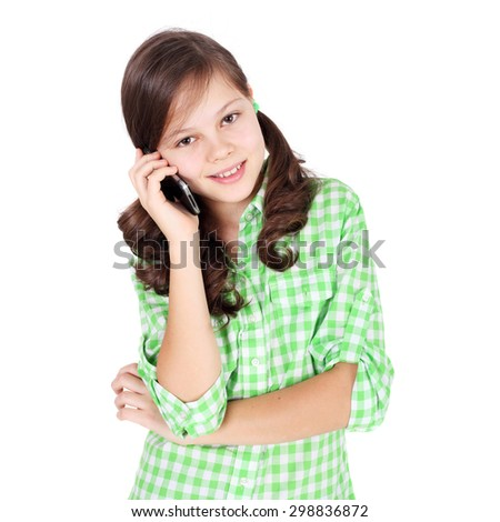 pretty teen girl speaking by mobile phone