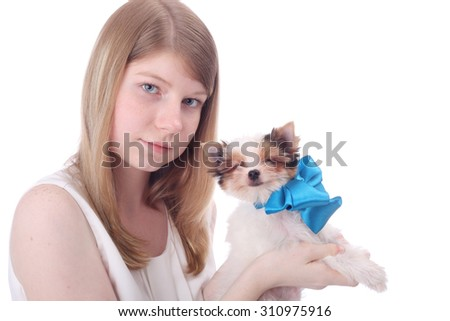 pretty teen girl with the beaver little puppy