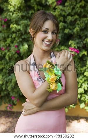 Pretty Teenage Girl Wearing Corsage - stock photo