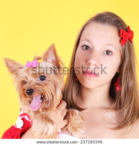 pretty teenage girl with the cute little dog