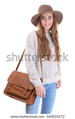 Pretty teenager girl on white background
