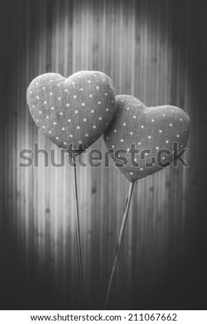 Pretty valentines hearts black and white - stock photo