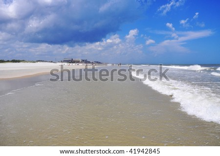 Pretty view of empty beach - stock photo