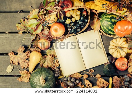 Pretty Vintage Fall Vignette with Mini Pumpkin, Apple, Grapes, Nuts, Berries, leaves on Rustic Old Wood Boards with room or space for copy, text, words. Horizontal, above view at angle. - stock photo