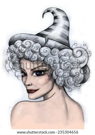 Pretty Witch Portrait. Illustration of a woman with curly hair and big night sky eyes, wearing witch hat. Looking over her shoulder and smiling. Isolated on white - stock photo