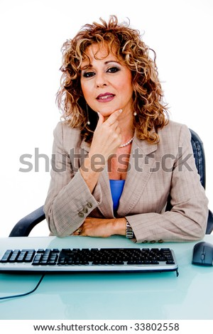 Pretty woman at work - stock photo